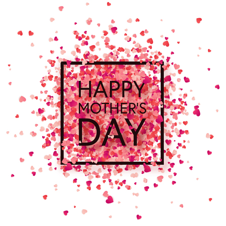 Mothers day background with red hearts. Greeting card, template with lettering.