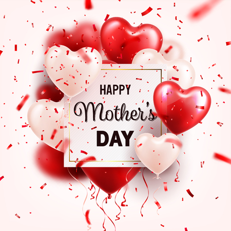 Mothers day background with red hearts balloons and confetti. Greeting card, template. with lettering.Heart shaped. Holiday. Illustration
