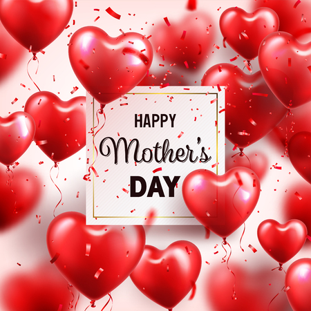 Mothers day background with red hearts balloons and confetti. Greeting card, template with lettering. Illustration