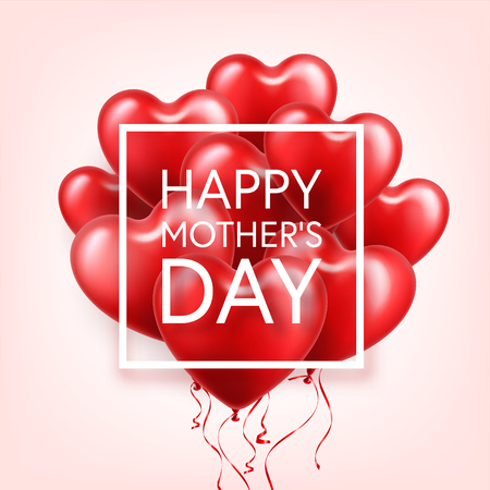 Mothers day background with red hearts balloons. Greeting card, template. with lettering.Heart shaped. Holiday.