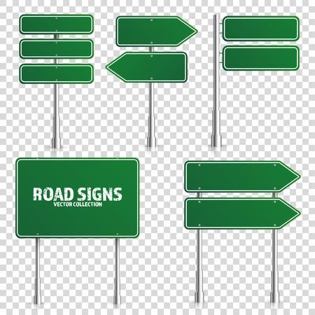 Señal de tráfico verde de carretera. Tablero en blanco con lugar para texto. Maqueta. Aislado en señal de información blanca. Dirección. Ilustración vectorial