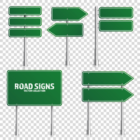 Road green traffic sign. Blank board with place for text.Mockup. Isolated on white information sign. Direction. Vector illustration. Vettoriali