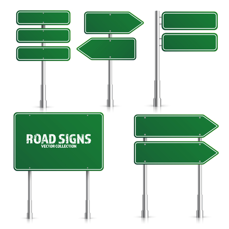 Road green traffic sign. Blank board with place for text.Mockup. Isolated on white information sign. Direction. Vector illustration. 일러스트