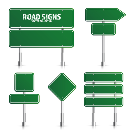 Road green traffic sign. Blank board with place for text.Mockup. Isolated on white information sign. Direction. Vector illustration. Çizim