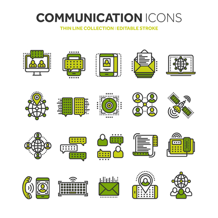 Communication icon set. Outline icons collection. Vector illustration.