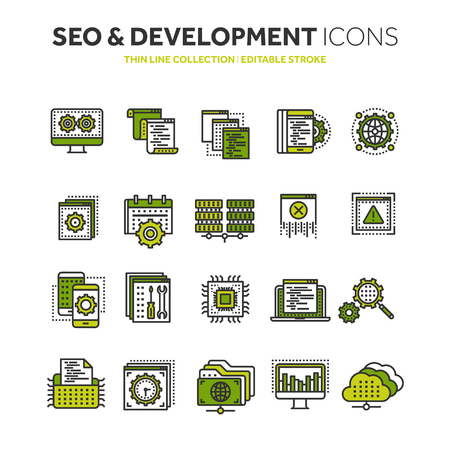 App development and search engine optimization. Internet, e-commerce thin line black web icon set. Outline icons collection vector illustration.