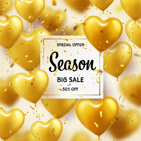 Golden Balloons in heart shape. Season sale banner with gold. Birthday holiday. Carnival. Love. Confetti and ribbons.