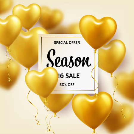 Golden Balloons in heart shape. Season sale banner with gold. Birthday holiday. Carnival. Love.