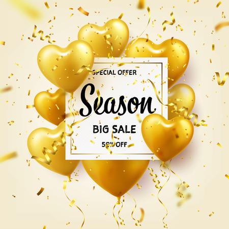 Złote balony w kształcie serca. Sezonowy baner sprzedaży ze złotem. Urodziny. Karnawał. Miłość. Konfetti i wstążki.