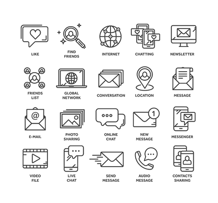 Communication. Social media. Online chatting. Phone call, app messenger. Mobile,smartphone. Computing.Email. Thin line black web icon set. Outline icons collection. Vector illustration. Illustration