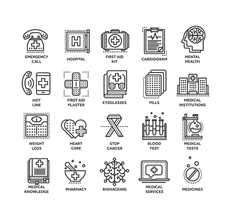 Health care, medicine. First aid. Medical blood tests and diagnostic. Heart cardiogram. Pills and drugs.Thin line black web icon set. Outline icons collection.Vector illustration.