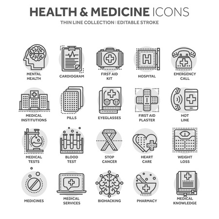 Health care, medicine. First aid. Medical blood tests and diagnostic. Heart cardiogram. Pills and drugs.Thin line black web icon set. Outline icons collection.Circle element.