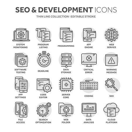 Seo and app development. Search engine optimization. Internet, e-commerce.Thin line black web icon set. Outline icons collection. Circle element.