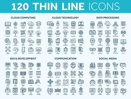Cloud computing e tecnologia. Archiviazione dei dati. Seo, sviluppo. Rete sociale, comunicazione. Connessione internet. Messaggio email. Set di icone blu linea sottile. Colpo.