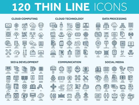 Cloud computing et technologie. Stockage de données. Référencement, développement. Réseau social, communication. Connexion Internet. Message électronique. Ensemble d'icônes bleues fines. Caresser.