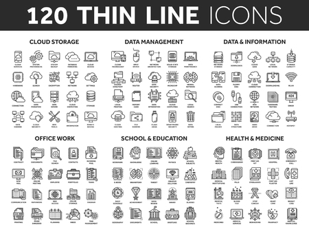 Cloud storage. Data management. Computing. Information. Internet connection. Office work. School and education. Medicine. Thin line black icons set. Stroke.