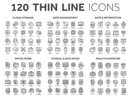Cloud storage. Data management. Computing. Information. Internet connection. Office work. School and education. Medicine. Thin line black icons with circle set. Stroke. Vecteurs