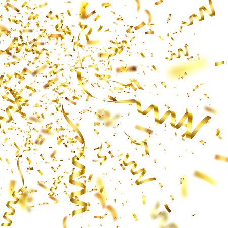 Golden confetti with ribbon. Falling shiny confetti glitters in gold color. New year, birthday, valentines day design element. Holiday christmas background.