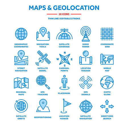 Map and navigation. GPS coordinates. Location icons. Line art.