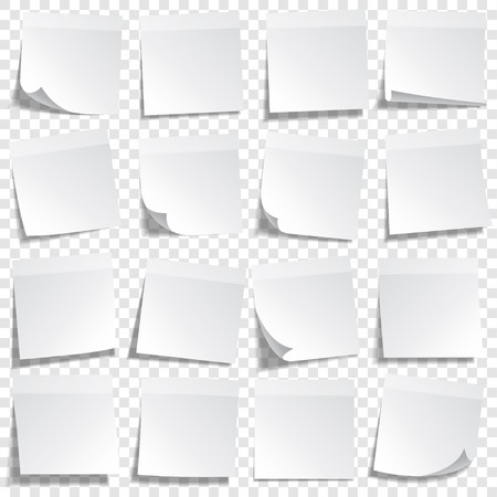 Sticky paper note with tape and shadow isolated on transparent background. Blank. Set  イラスト・ベクター素材