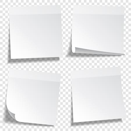 Kleverige papieren notitie met tape en schaduw geïsoleerd op transparante achtergrond. Blank. Set Vector Illustratie