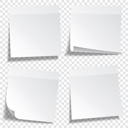 Sticky paper note with tape and shadow isolated on transparent background. Blank. Set Vectores