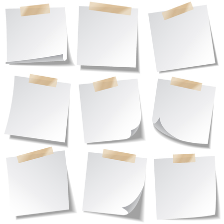 Sticky paper note with tape and shadow isolated on white background. Blank. Set. Stock Illustratie