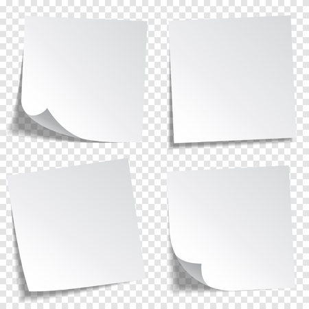 Sticky paper note with tape and shadow isolated on transparent background. Blank. Set Çizim