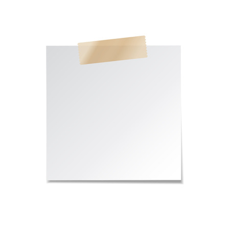 Sticky paper note with tape and shadow isolated on white background. Blank.