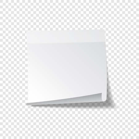 Sticky paper note with tape and shadow isolated on transparent background. Blank.
