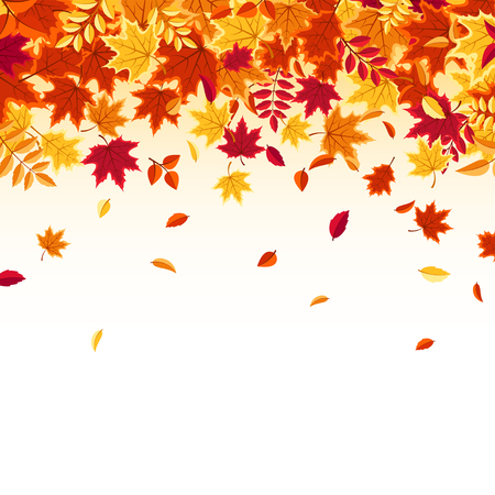 Autumn falling leaves. Nature background with red, orange, yellow foliage. Flying leaf. Season sale. Vector illustration. Illusztráció