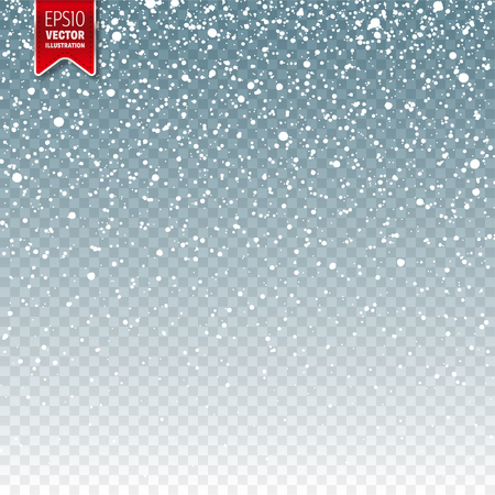 Snow with snowflakes. Winter blue background for Christmas or New Year holidays. Falling snow effect. Frost storm, snowfall, ice.