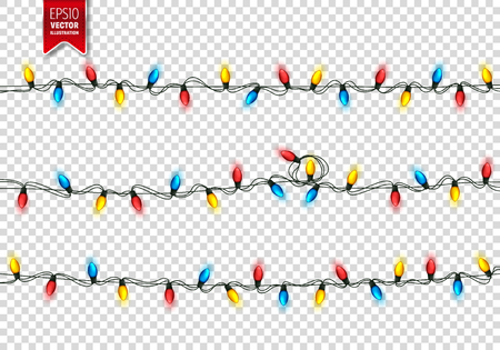 Christmas Festive Lights. Decorative Glowing Garland Isolated on Background. Shiny Colorful Decoration for Christmas and New Year Holidays.