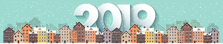 2019. Winter urban landscape. City with snow. Christmas and new year. Cityscape. Buildings.Vector illustration.Lettering. Illustration