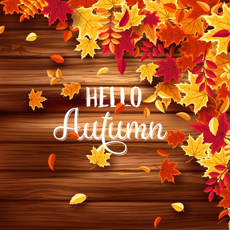 Autumn falling leaves with wood. Nature background with red, orange, yellow foliage. Flying leaf. Season sale. Vector illustration.Wooden texture.