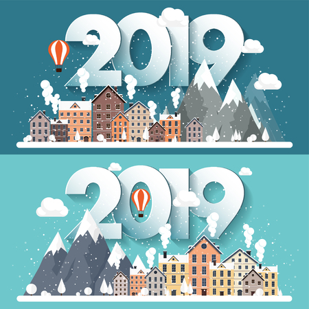 Vector illustration. 2019 winter urban landscape. City with snow. Christmas and new year. Cityscape. Buildings.Mountaines, nature.