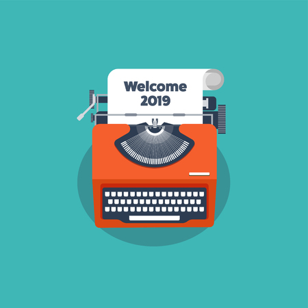 Typewriter in a flat style. Christmas wish list. Letter to Santa. New year. 2019. December holidays. Illustration