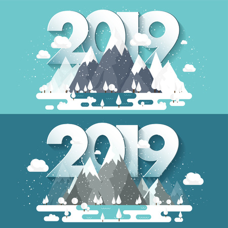 Mountains in Winter,2019 Peak with Snow. Nature Landscape. Christmas Travel. Hiking and Camping. Flat Style.