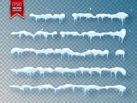 Snow, ice cap with shadow. Snowfall and snowflakes. Winter season. Transparent background. Christmas and New Year time.