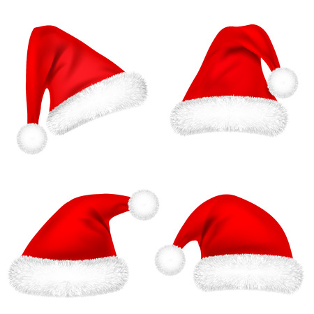 Christmas Santa Claus Hats With Fur Set. New Year Red Hat Isolated on White Background. Winter Cap. Vector illustration.