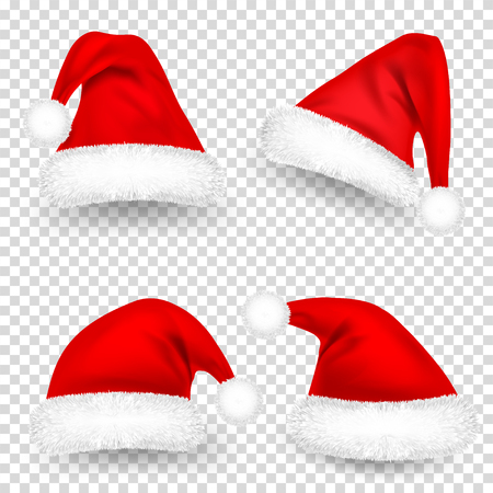 Christmas Santa Claus Hats With Fur and Shadow Set. New Year Red Hat Isolated on Transparent Background. Winter Cap. Vector illustration. 스톡 콘텐츠 - 115591118
