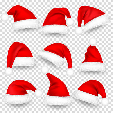 Christmas Santa Claus Hats With Fur and Shadow Set. New Year Red Hat Isolated on Transparent Background. Winter Cap. Vector illustration.