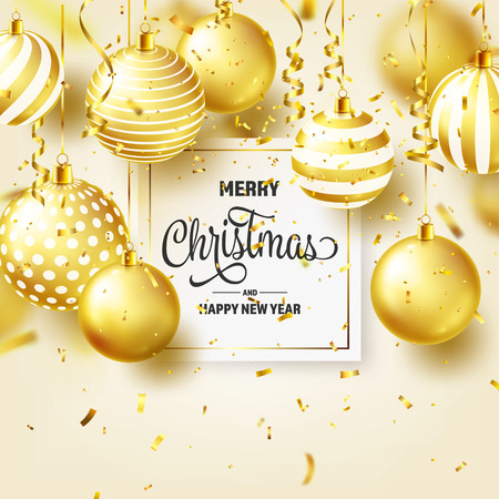 Christmas Background With Tree Balls, Ribbon And Confetti. Golden Ball. New Year. Winter holidays. Season Sale Decoration. Gold Xmas Gift.