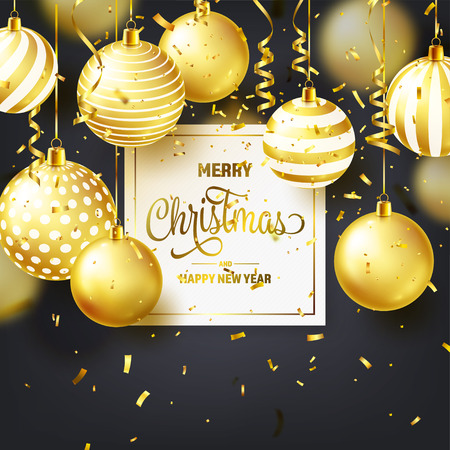 Christmas Background With Tree Balls, Ribbon And Confetti. Golden Ball. New Year. Winter holidays. Season Sale Decoration. Gold Xmas Gift. Stock fotó - 112304104