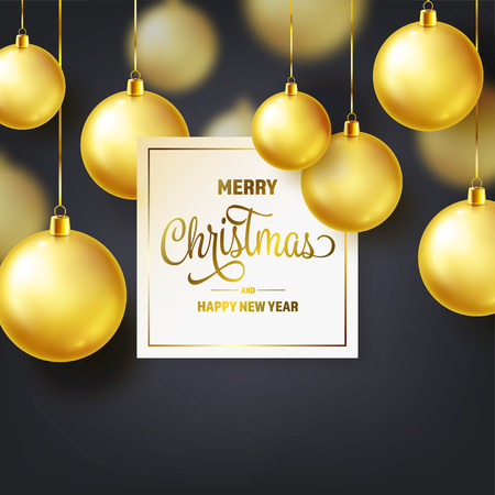 Christmas Background With Tree Balls. Golden Ball. New Year. Winter holidays. Season Sale Decoration. Gold Xmas Gift. Stock fotó - 112304105