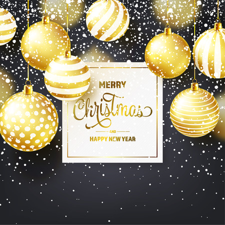 Christmas Background With Tree Balls And Snow. Golden Ball. New Year. Winter holidays. Season Sale Decoration. Gold Xmas Gift. Stock fotó - 112304107
