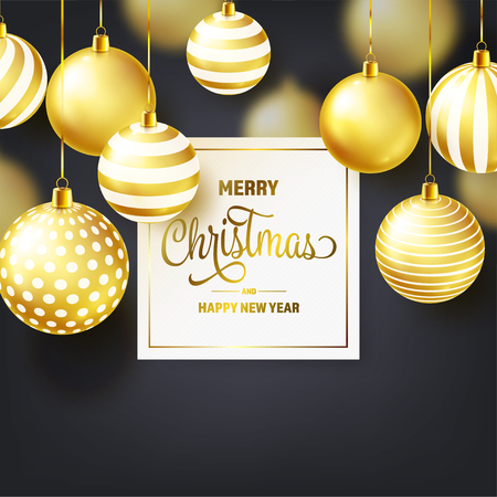 Christmas Background With Tree Balls. Golden Ball. New Year. Winter holidays. Season Sale Decoration. Gold Xmas Gift. Stock fotó - 112304108