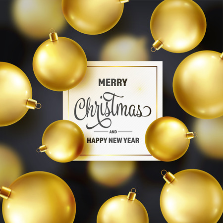 Christmas Background With Tree Balls. Golden Ball. New Year. Winter holidays. Season Sale Decoration. Gold Xmas Gift Stock fotó - 115591142