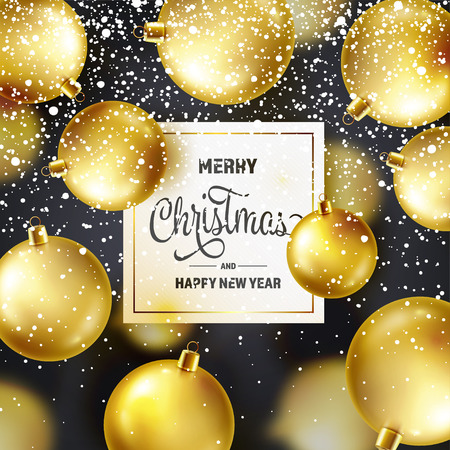 Christmas Background With Tree Balls And Snow. Golden Ball. New Year. Winter holidays. Season Sale Decoration. Gold Xmas Gift Stock fotó - 115591144