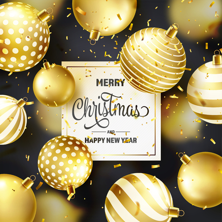 Christmas Background With Tree Balls, Ribbon And Confetti. Golden Ball. New Year. Winter holidays. Season Sale Decoration. Gold Xmas Gift